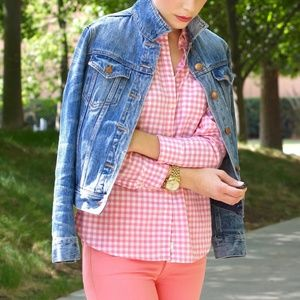J. Crew Pink Gingham The Perfect Shirt